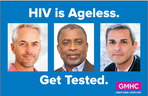 Three gray-haired men. HIV is Ageless. Get Tested.