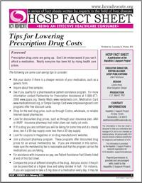 Thumbnail image of HCSP Fact Sheet: Tips for Lowering Prescription Drug Costs