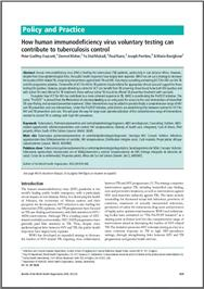Thumbnail image of Policy and Practice: How Human Immunodeficiency Virus Voluntary Testing Can Contribute to Tuberculosis Control