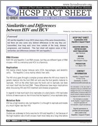 Thumbnail image of HCSP Fact Sheet: Similarities and Differences Between HIV and HCV