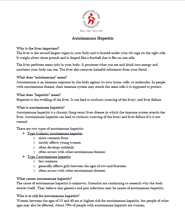 Autoimmune Hepatitis: PDF Fact Sheet.