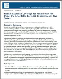 Thumbnail image of Health Insurance Coverage for People with HIV Under the Affordable Care Act: Experiences in Five States