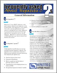 Thumbnail image of Frequently Asked Questions About Hepatitis C: General Information