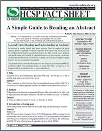 Thumbnail image of HCSP Fact Sheet: A Simple Guide to Reading an Abstract