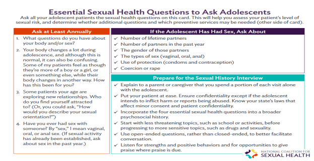 Essential Sexual Health Questions to Ask Adolescents. Go to pocket card.