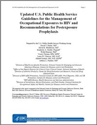 Thumbnail image of Updated U.S. Public Health Service Guidelines for the Management of Occupational Exposures to Human Immunodeficiency Virus and Recommendations for Postexposure Prophylaxis