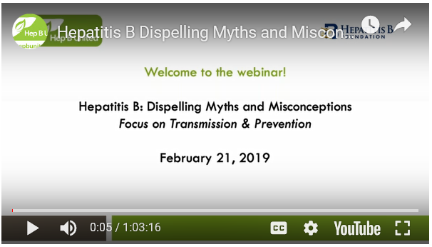 Hepatitis B: Dispelling Myths and Misconceptions. Go to Webinar.