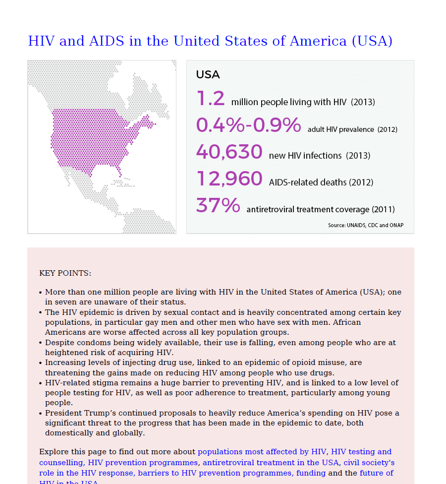 Go to HIV and AIDS in the United States of America (USA)-Information Sheet