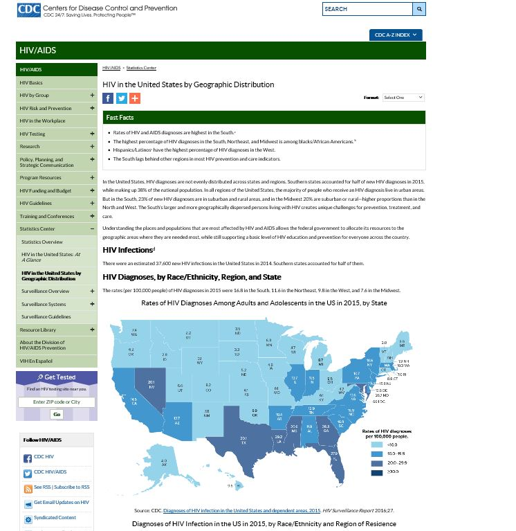 HIV in the United States by Geographic Distribution. Go to fact sheet.