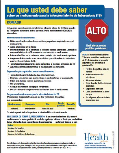 Lo que usted debe saber sobre su medicamento para la infección latente de tuberculosis – Isoniazid-Fact Sheet.