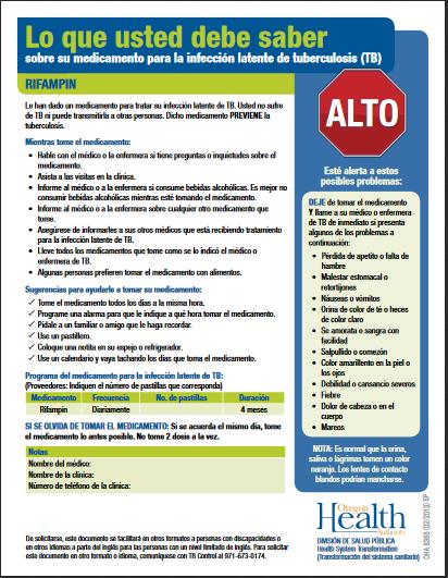 Lo que usted debe saber sobre su medicamento para la infección latente de tuberculosis – Rifampin-Fact Sheet