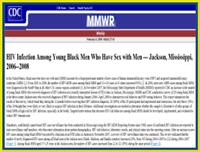 Thumbnail image of HIV Infection Among Young Black Men Who Have Sex With Men --- Jackson, Mississippi, 2006--2008