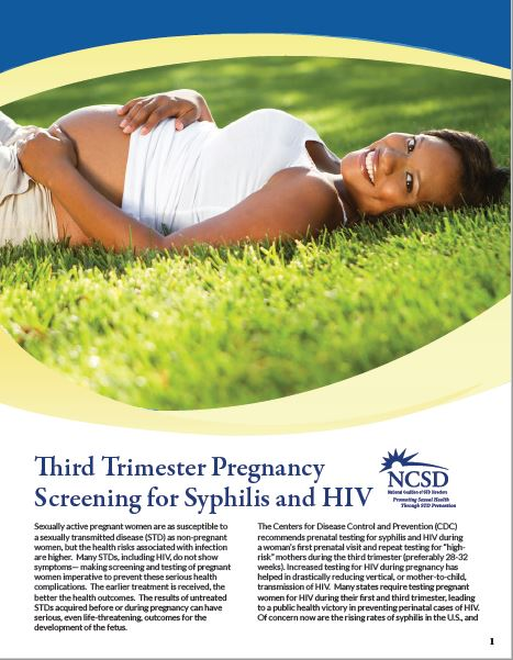 Third Trimester Pregnancy Screening for Syphilis and HIV. Go to information sheet.