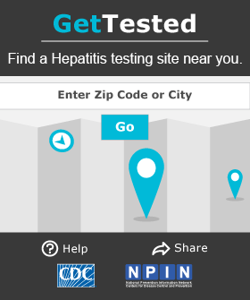 Get Tested - Hepatitis: Hepatitis testing button from gettested.cdc.gov