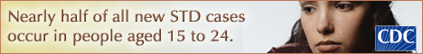 Youth STD Banner: Nearly half of all new STD cases occur in people aged 15 to 24.