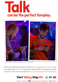 Talk can be the perfect foreplay. Start Talking. Stop HIV. Poster