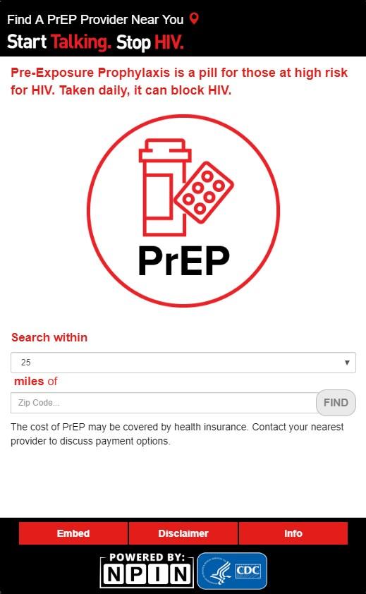 Start Talking Stop HIV PrEP Locator Widget