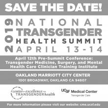 Save the date card for the 2019 UCSF National Transgender Health Summit