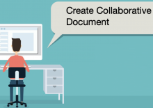 Create a Collaborative Document.  Graphic image shows young man working on computer.