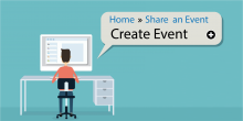 Home. Share an Event. Create Event is the typeface.  The graphic image is teal blue background and shows a young man with his back to us and typing on a computer.