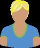 Female blue V-neck