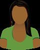 Female green shirt long dark hair