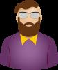 Male purple shirt brown beard