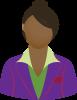 Female purple blazer brown bun