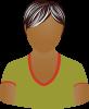 Female olive shirt gray hair