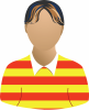 Male yellow and red stripped shirt