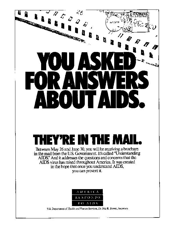 an America Responds to AIDS ad announcing the Understanding AIDS brochure mailing