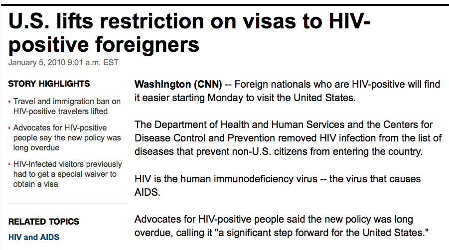 "Photo of headline ""US lifts restriction on visas to HIV-positive foreigners."""