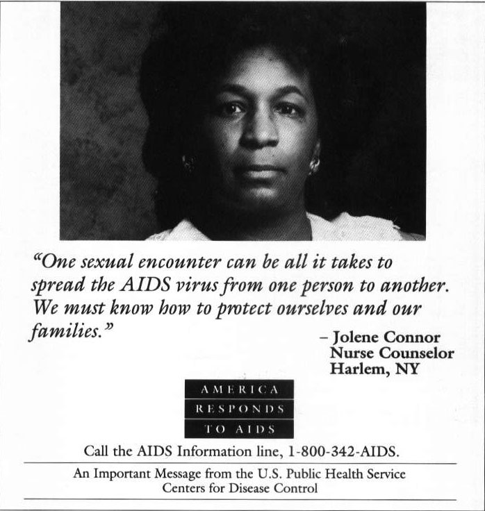 an America Responds to AIDS ad featuring Jolene Connor