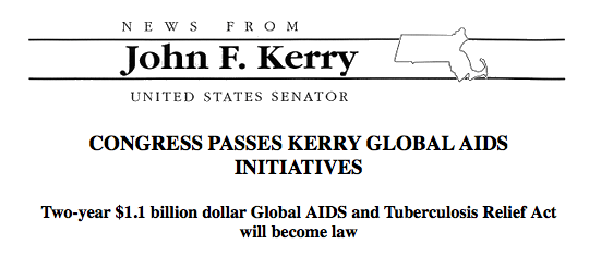 "Photo of John F. Kerry's letterhead with headline Congress passes ""Kerry Global AIDS Initiatives""."