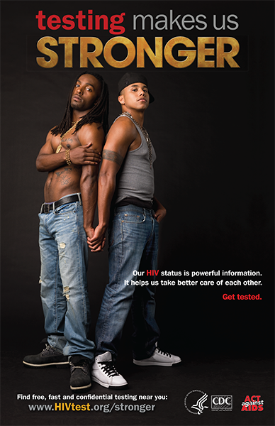 Poster from Testing Makes Us Stronger, with two African American men.