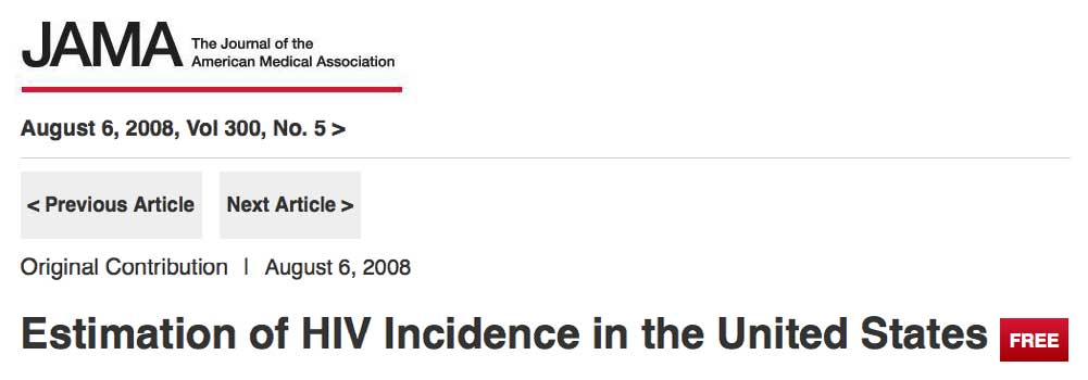 "Photo of ""Estimation of HIV Incidence in the United States"" article in the Journal of the American Medical Association."