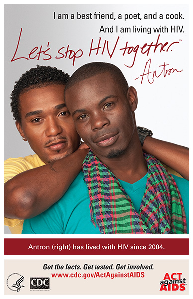 Poster from Let's Stop HIV Together with African American male couple.
