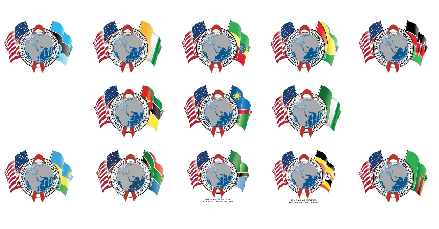 flags from 13 countries where PEPFAR's Track 1 Antiretroviral Therapy was launched