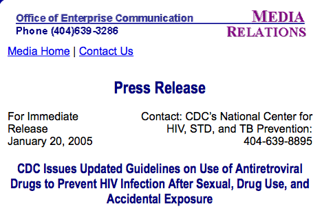 "Photo of press release titled ""CDC Issues Updated Guidelines on Use of Antiretroviral Drugs to Prevent HIV Infection After Sexual, Drugs Use, and Accidental Exposure."""
