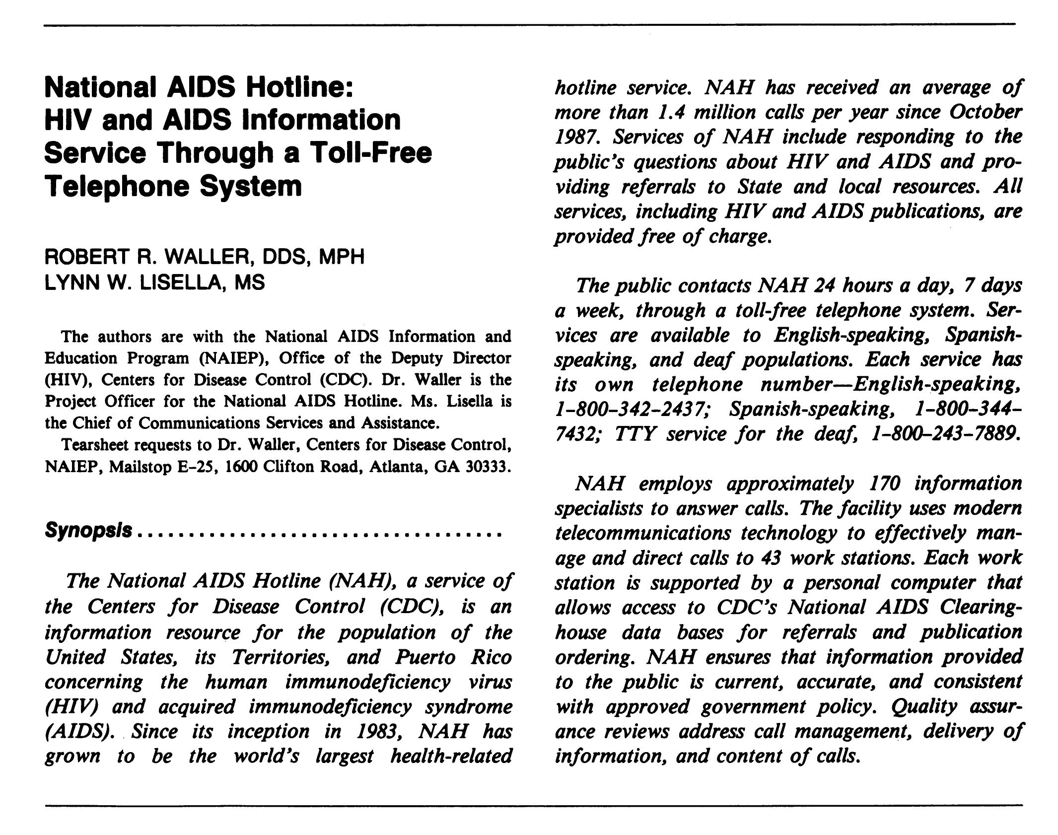 clipping from MMWR about the National AIDS Hotline